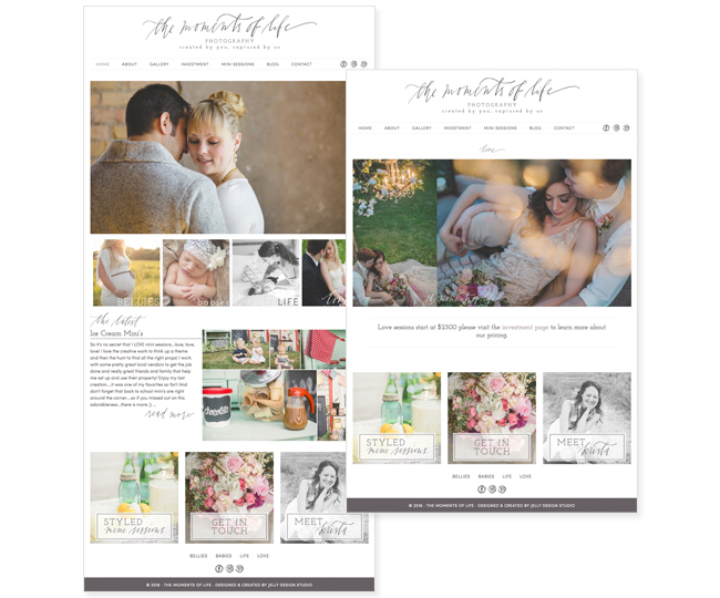Mobile Friendly Photography Website Design for The Moments of Life by Jelly Design Studio | jellydesignstudio.com