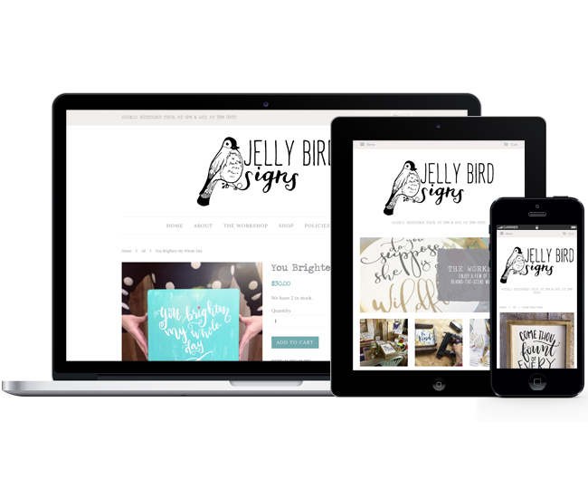 Mobile Friendly Ecommerce Design for Jelly Bird Signs by Jelly Design Studio   jellydesignstudio.com