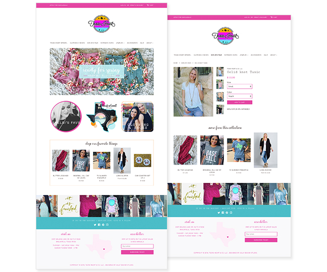 Shopify Website Design for Texas Heart Apparel by Jelly Design Studio | jellydesignstudio.com